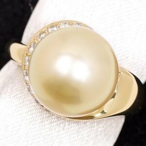POLA Paula · Great grain Golden Pearl 12..5 Milli Diamond 0.19ct K18 with Ring Warranty
