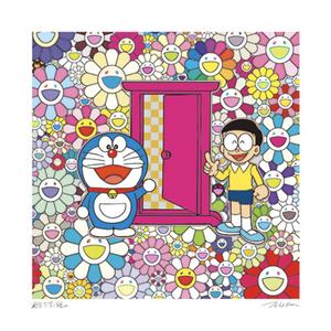 【真作保証】村上隆 x ドラえもん☆版画☆『どこでもドア』 2種類セット☆限定300枚☆Takashi Murakami Edition kaikai kiki お花畑