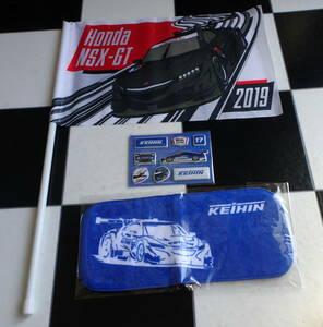 【SUPER GT】 スーパーGT 2019 HONDA KEIHIN NSX-GT ミニタオル・ステッカー・応援フラッグ 合計3点セット 塚越広大 ベルトラン・バゲット