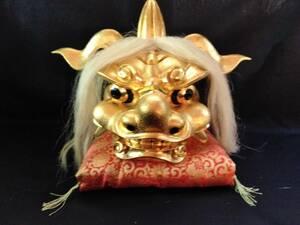 木製 獅子頭 井波彫刻 床飾獅子頭 金塗獅子頭 荒井 寿斉作 共箱