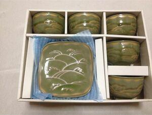 彩 いろどり 湯飲み 湯呑み5客 小皿 和菓子皿5客 食器 陶器 来客用 詳細不明 箱有 上品な緑色 長期保管品