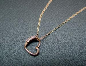 ◆98【T.B】K10/ピンクゴールドハート・ ダイヤモンドネックレス◆