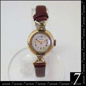 Fxactus ● K18 17 Камень Руководные часы ● Античные часы Дамы ● Ремень Bordeaux ● Маленький круглый элегантный ● Швейцарская доставка