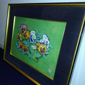 山田規代 日本画 パンジー 約62cm ×3cm×49.5cm