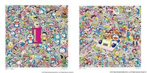 新品 ED300 村上隆 ドラえもん 版画 ポスター 2枚セット 藤子・F・不二雄先生とタイムマシンで何処までも! どこでもドア いろいろあるよ