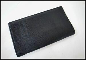 3125T【本物保証】 BVLGARI ブルガリ グレインレザー 二つ折り長財布 ブラック メンズ