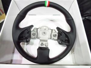 FIAT500(-'2017/6) パドルシフト対応ステアリング/ブラックレザー 【AutoStyle】 新品/イタリアステッチ/