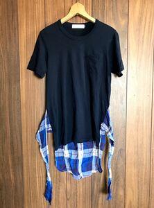 ★ OVER THE STRIPES ★ Tシャツ デザイン ポケット シャツ XS ネイビー チェック オーバーザストライプス 紺
