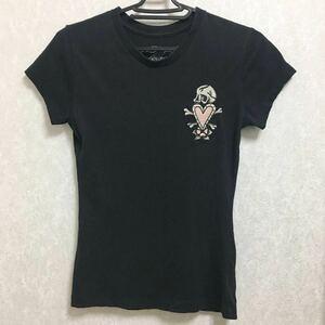 エドハーディ Tシャツ カットソー 半袖 レディース XS 黒 h2