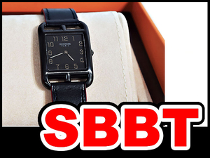 ●【SBBT】 HERMES エルメス ケープコッド シャドウ GM 黒 ブラック CC3.711 SS×レザー 腕時計 本物