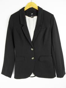 エイチ&エム H&M ジャケット テーラード エルボーパッチ 34 黒 ブラック