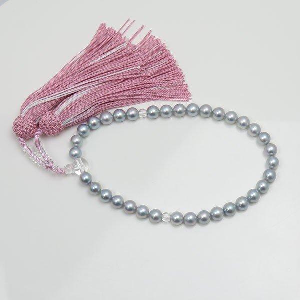 真珠 数珠 パール 念珠 あこや真珠 数珠 7.5mm-8mm ブルーグレーカラー 新色 ピンク房 アコヤ本真珠 冠婚葬祭 葬儀 葬式 法事