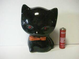 黒猫 ネコ ねこ 赤い眼の 蝶ネクタイ ねこ さん 陶器 貯金箱 人形