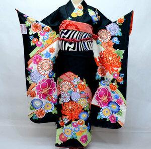 振袖・帯・襦袢 3点セット 和遊日 絵羽柄 黒 成人式 新品(株)安田屋 NO31941