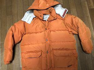 再値下げ!ウールリッチWOOLRICHダウンジャケット サイズM(大きめL相当)オレンジフード取外し可 色あせ汚れあり アシックス製