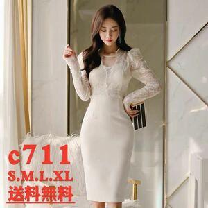 ワンピースドレス タイトワンピース レースワンピース 姫系 膝丈 パーティドレス 韓国ファッションc711