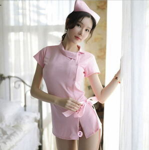 セクシー ナース服 ピンク コスチューム ハロウィン コスプレ レディース 看護婦 エロ えっち ワンピース ミニ スカート かわいい 衣装 胸
