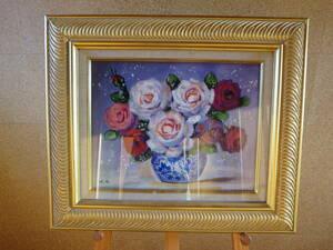 送料無料 バラ 薔薇 ばら 小倉 油彩 油絵