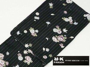 315 洗える着物 単衣 黒 紫 ストライプ R・KIKUCHI