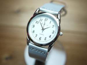 ホークカンパニー レザーウォッチ 腕時計 シルバー 新品 日本製 牛革 本革 レディース メンズ アナログ