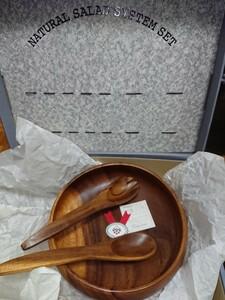 木製 サラダボウル  フォーク&スプーン セット