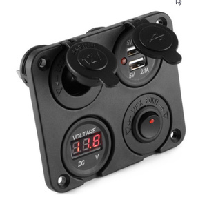 DC 12 V-24 V 車のシガーライターソケットデュアル USB 充電器電圧計スイッチパネル用車車ボートモーターホーム k-1202