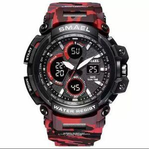 【1円スタート!】最落なし!海外人気ブランド SMAEL S-SHOCK メンズ高品質腕時計 50M防水 アナログ&デジタル 迷彩レッド♪1