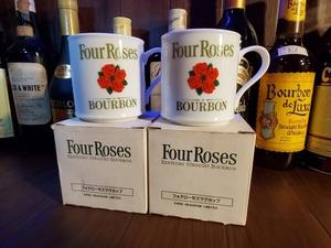 ◆ホットウイスキーに!◆フォアローゼス Four Roses 陶器 マグカップ ペア 未使用品 285