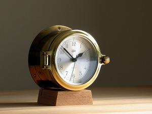 BARIGO burr go ship clock quartz Φ14cm Germany made Vintage / brass chamfer glass . window
