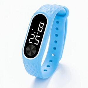 子供の腕時計 Led デジタルスポーツウォッチ少年少女メンズ ・ レディース ・ 電子シリコンブレスレット腕時計リロイニノ Sky Blue White
