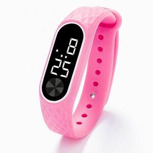 子供の腕時計 Led デジタルスポーツウォッチ少年少女メンズ ・ レディース ・ 電子シリコンブレスレット腕時計リロイニノ Pink White