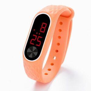 子供の腕時計 Led デジタルスポーツウォッチ少年少女メンズ ・ レディース ・ 電子シリコンブレスレット腕時計リロイニノ Orange Red