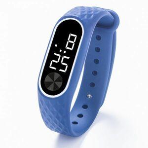 子供の腕時計 Led デジタルスポーツウォッチ少年少女メンズ ・ レディース ・ 電子シリコンブレスレット腕時計リロイニノ Blue White