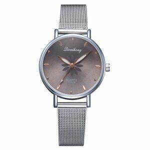 女性の腕時計高級シルバー人気のピンクダイヤル花メタルレディースブレスレットクォーツ時計ファッション腕時計 2019 トップ 黒