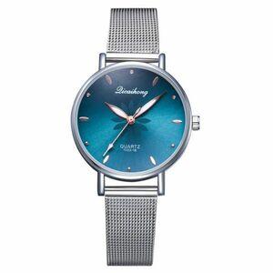 女性の腕時計高級シルバー人気のピンクダイヤル花メタルレディースブレスレットクォーツ時計ファッション腕時計 2019 トップ 緑