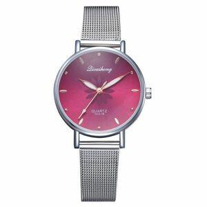 女性の腕時計高級シルバー人気のピンクダイヤル花メタルレディースブレスレットクォーツ時計ファッション腕時計 2019 トップ ローズ