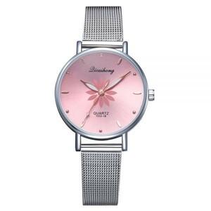 女性の腕時計高級シルバー人気のピンクダイヤル花メタルレディースブレスレットクォーツ時計ファッション腕時計 2019 トップ ピンク