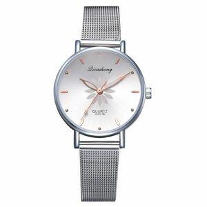 女性の腕時計高級シルバー人気のピンクダイヤル花メタルレディースブレスレットクォーツ時計ファッション腕時計 2019 トップ WHITE