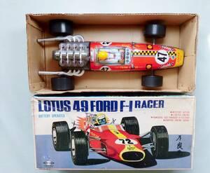 ダイシン ブリキ ロータス LOTUS 49 FORD F1 シェル Firestone STP広告 DAISHIN 箱付 日本製 昭和レトロ 当時物