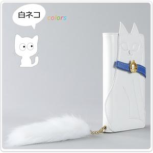 au Galaxy A20 SCV46 手帳型 手帳 ケース カバー 猫 ねこ 猫型 スマホケース スマホカバー ファーストラップ付 白ネコ