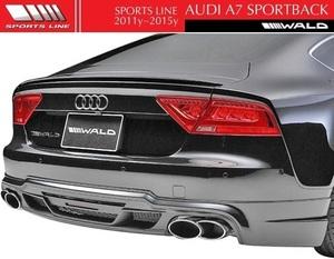 【M's】アウディ A7 SportBack 4GC(2011y-2015y)WALD SPORTS LINE リアスカート(LEDランプ+ネット付)/FRP製 ハーフタイプ ヴァルド