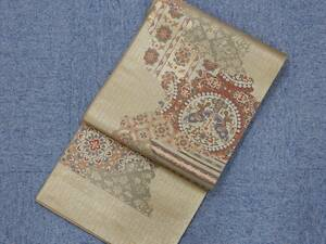西陣織 袋帯 熊本織物 六通 絹 在庫処分品 未仕立て品 703349