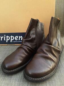 即決 新品 trippen トリッペン 人気ブーツ PLEATS プリーツ 38 24 24.5cm 箱付 ダークブラウン