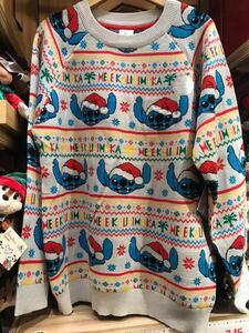 海外 Mサイズ スティッチ クリスマス ホリデー ライトアップ セーター USディズニーストア ニット 香港ディズニーランド