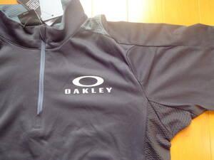 オークリー メンズM 半袖モック 黒 ハーフジップ 吸汗速乾 シャツ 434195JP 新品