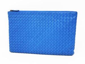 美品 BOTTEGA VENETA ボッテガヴェネタ クラッチバッグ セカンドバッグ イントレチャート カーフ レザー ブルー 青 メンズ