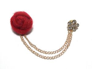 【ラペルピン★ピンズ★チェーン】バラ 薔薇 ばら 花 フラワー 赤色 レッド pin-0479