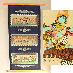 【少々難あり】インド★クリシュナの壁飾り/25*55cm/手書きインド絵画
