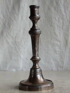 oフランスアンティーク キャンドルスタンド シルバープレート 銀 燭台 蝋燭立て シャビー ヴィンテージ 蚤の市 ブロカント