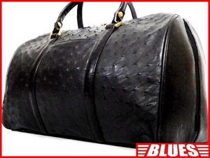即決★N.B.★オールレザーボストンバッグ オーストリッチ メンズ 黒 ブラック 本革 トラベル 本皮 かばん 出張 カバン 旅行 鞄